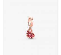 Charm Pendant Cœur Incliné Pavé Rouge Pandora rose 789404C02