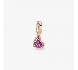 Charm Pendant Cœur Incliné Pavé Violet royal Pandora rose 789404C03