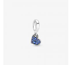 Charm Pendant Cœur Incliné Pavé Bleu Stellaire en Argent 925/1000 Pandora 799404C01
