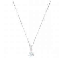 Collier Pendentif Solitaire blanc, Métal rhodié SWAROVSKI 5472635