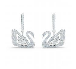 Boucles d'oreilles Dancing Swan blanc, métal rhodié Swarovski 5514420