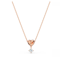 Collier Pendentif Lifelong Heart blanc, métal doré rose SWAROVSKI 5516542