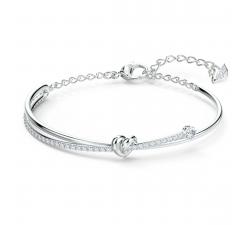 Bracelet-jonc Lifelong Heart blanc, métal rhodié Swarovski 5517944