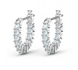 Boucles d'oreilles Créoles Vittore Mini blanc, métal rhodié Swarovski 5562126