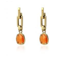 Boucles d'oreilles oeil de chat orange en acier - Anartxy BPE464 NA