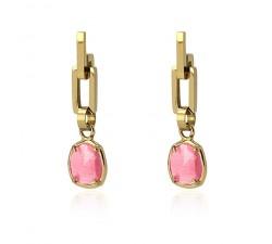 Boucles d'oreilles oeil de chat rose en acier - Anartxy BPE464 RS