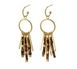 Boucles d'oreilles pierres marron en acier - Anartxy BPE550 MR