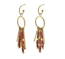 Boucles d'oreilles pierres roses en acier - Anartxy BPE550 RS