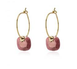 Boucles d'oreilles créoles étoiles roses en acier - Anartxy BPE607 RS