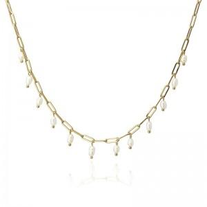 Collier Perles en acier -...