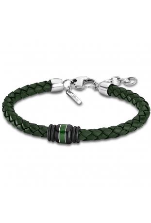 Bracelet acier et cuir vert Lotus Style