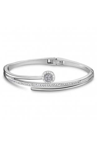 Bracelet rigide Lotus Style acier et cristaux