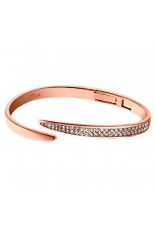 Bracelet en acier PVD rose et cristaux Lotus Style