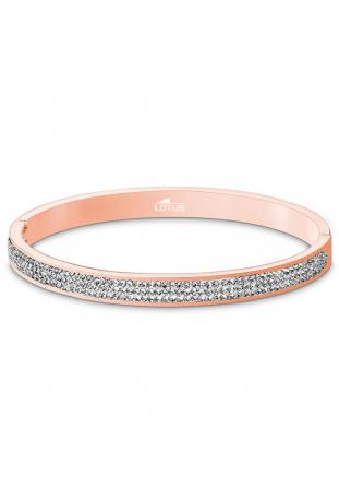 Bracelet rigide acier doré rose et cristaux Lotus Style