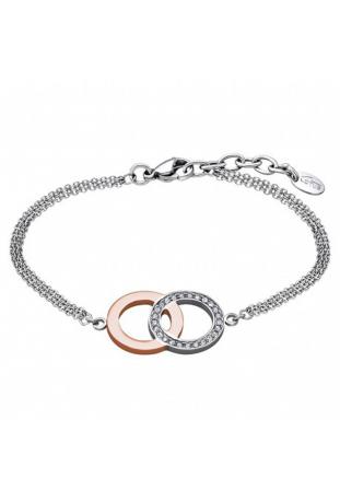 Bracelet acier bicolore et cristaux double anneaux Lotus Style