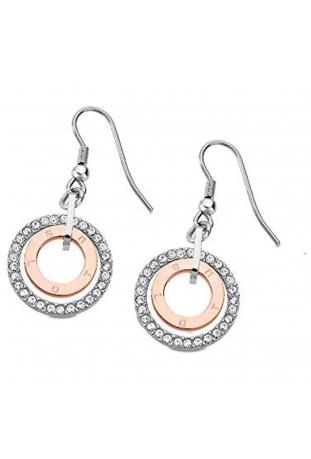 Boucles d'oreilles acier bicolore double anneaux et cristaux Lotus Style