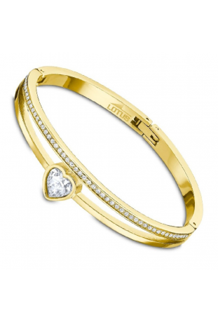 Bracelet acier doré jaune rigide et cristaux
