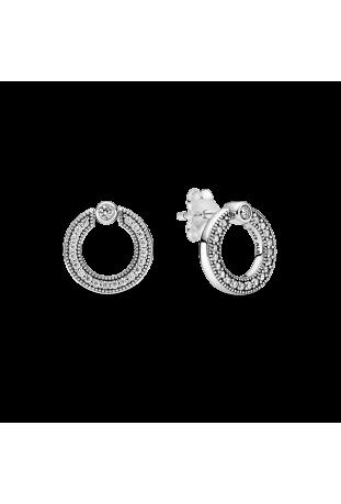 Boucles d'oreilles réversibles Pandora Pavé Logo Circle argent 925/1000 299486C01