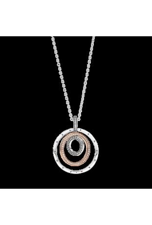 Collier Two Tone Circles en argent 925/1000 et Pandora rose 389483C01-60