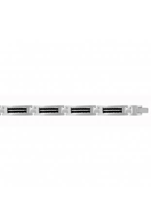 Bracelet acier, cable noir PHEBUS FOR HIM 31-0039-N