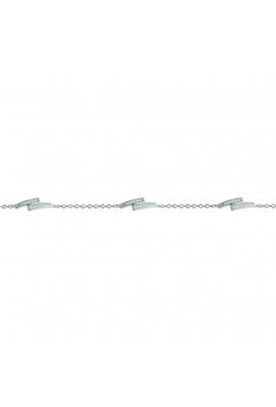Bracelet argent 925/1000, 3 motifs décalés et oxydes de zirconium by Stauffer