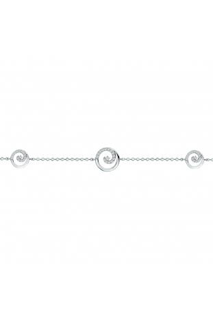 Bracelet argent 925/1000, 3 motifs arabesques et oxydes de zirconium by Stauffer