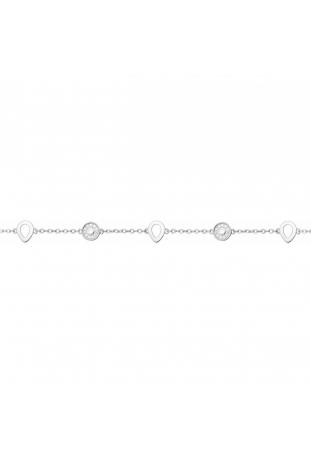 Bracelet argent 925/1000, motifs ronds et gouttes et oxydes de zirconium by Stauffer