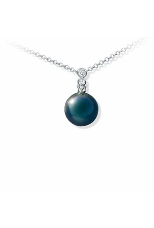 Collier Epure argent 925/1000 et perle de Tahiti et diamants IZA B EP-032-PEN