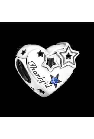 Charm Pandora Coeur et étoiles reconnaissants en argent 925/1000 799527C01