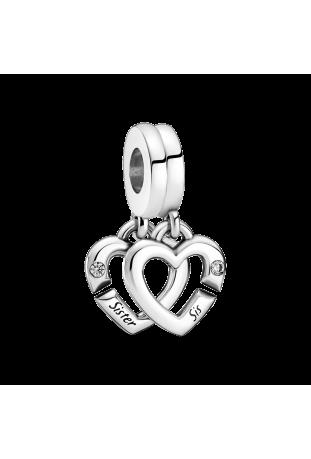 Charm Pandora pendentif coeur lié sister en argent 925/1000 799538C01