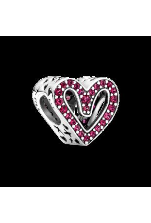Charm Coeur Dessiné Scintillant rouge en Argent 925/1000 PANDORA 798692C02