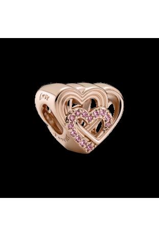 Charm Pandora rose coeurs d'amour entrelacés 789529C01