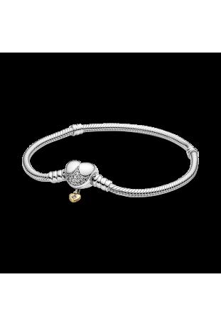 Bracelet chaîne serpent Disney x Pandora Moments avec fermoir cœur en argent 925/1000e 569563C01