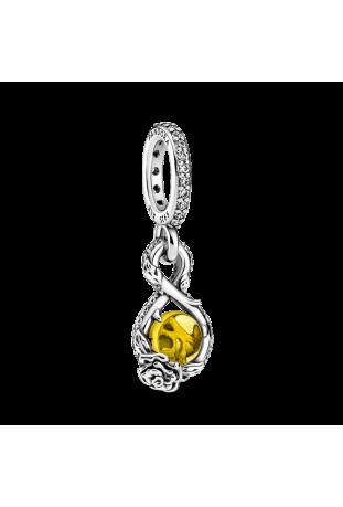 Charm Pandora Disney x Pandora Belle Infinity & Pendentif Fleur Rose en Argent 925/1000 399525C01