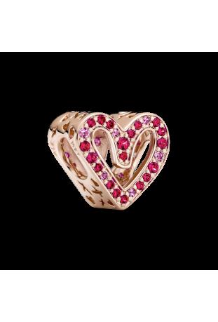 Charm Esquisse de Cœur Rouge Rubis & Rose Scintillant 788692C02