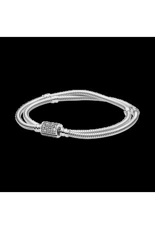 Bracelet Double Tour Maille Serpent Fermoir Barillet Pandora Moments en argent 925/1000 599544C01-D