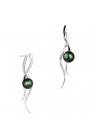 Boucles d'oreilles pendantes Canopée argent 925/1000 et perles de Tahiti IZA B EZ20E001HP