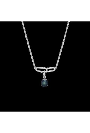 Collier Archipel argent 925/1000 et perle de Tahiti et diamants IZA B FEZ019N012HP