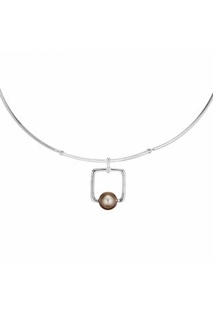 Collier Archipel argent 925/1000 et perle de Tahiti et diamants IZA B FEZ18N002HP