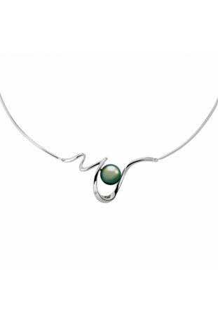 Collier Jonc Lagune argent 925/1000, perle de Tahiti et diamant IZA B FEZ18N006HP