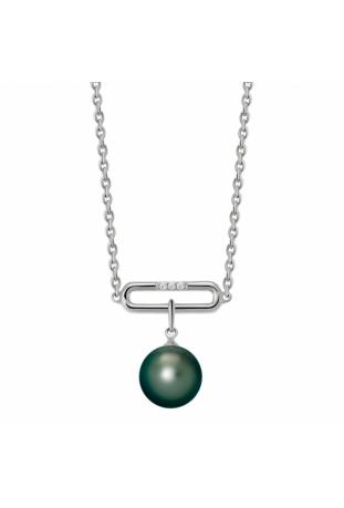 Collier Archipel argent 925/1000, perle de Tahiti et diamants IZA B FEZ18N008HP
