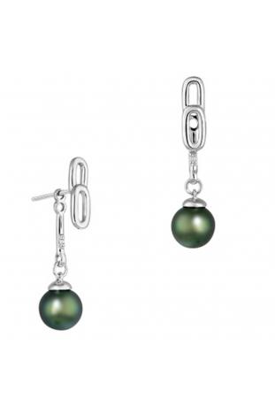 Boucles d'oreilles pendantes Archipel argent 925/1000, perles de Tahiti et diamants IZA B FEZ19E012HP