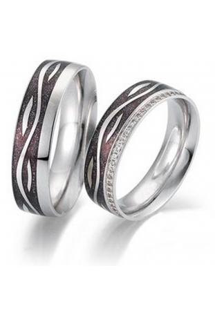 Alliance or gris palladié 750/1000, émail, diamants by Stauffer