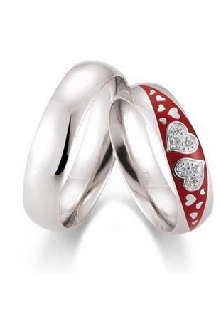 Alliance or gris palladié 750/1000, émail et diamants by Stauffer