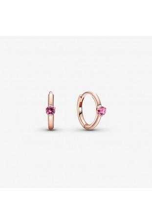 Boucles d'oreilles créoles Solitaire rose Huggie PANDORA 289304C03