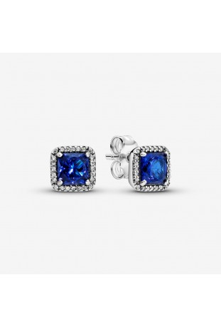 Boucles d'oreilles Pandora Halo Scintillant Carrés Bleus en argent 925/1000 290591NBT