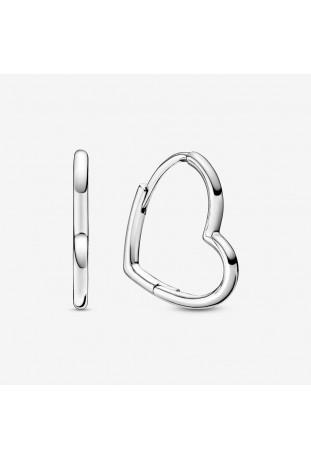 Boucles d'oreilles Pandora créoles cœur asymétrique en argent 925/1000 298307C00