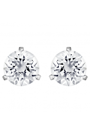Boucles d'oreilles Solitaire Blanc, Métal rhodié Swarovski 1800046