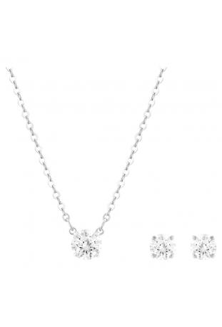 Parure collier et bracelet, Attract Rond, Blanc, Métal rhodié, Swarovski 5113468