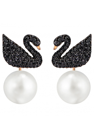 Boucles d'oreilles transformables Swarovski Iconic Swan Cygne, Noir, Placage de ton or rosé, Swarovski 5193949